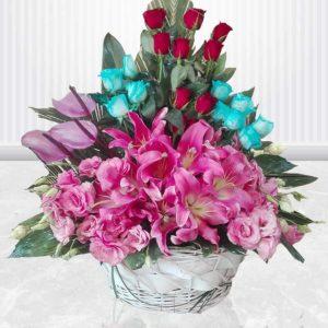 خرید سبد گل اینترنتی- سبد گل ملکه گل ها