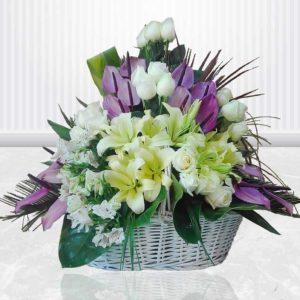 خرید سبد گل اینترنتی- سبد گل عروس گل ها