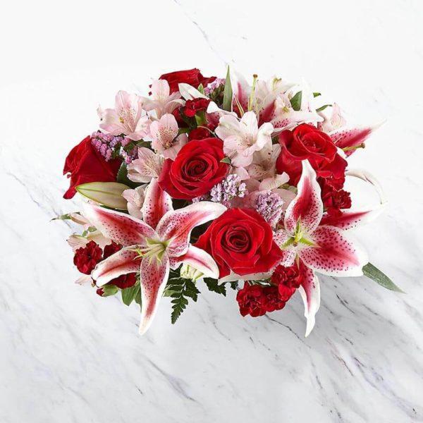 سفارش آنلاین دسته گل رز و لیلیوم از گلفروشی اینترنتی
