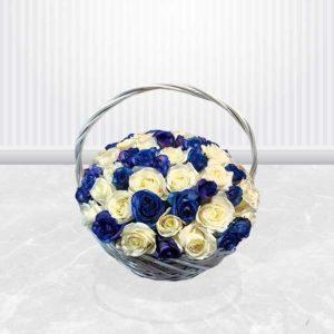 خرید اینترنتی سبد گل- سبد گل رز آبی و سفید