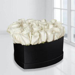 خرید باکس گل رز اینترنتی، جعبه گل رز سفید قلبی