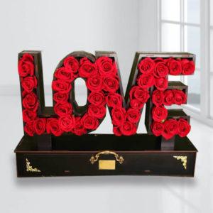 خرید باکس گل انلاین، باکس گل رز love