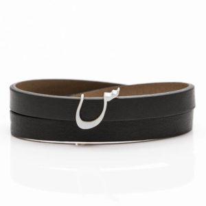 خرید اینترنتی دستبند، دستبند چرم و حرف نقره