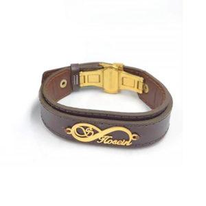دستبند چرم و پلاک بی نهایت اسمی