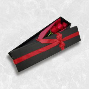 باکس گل رز قرمز ۳ شاخه ، باکس گل ارزان