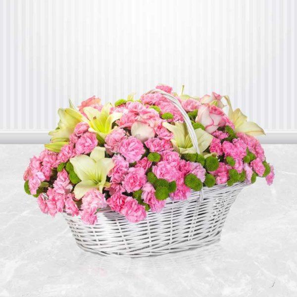 خرید گل انلاین ، سبد گل لبخند زندگی
