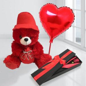 پکیج هدیه گل، عروسک و بادکنک