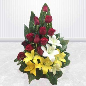 سفارش سبد گل آنلاین- سبد گل رز و لیلیوم