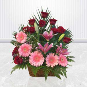 سفارش سبد گل آنلاین- سبد گل رز، ژربرا و لیلیوم