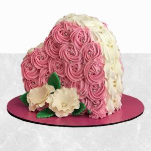 خرید اینترنتی کیک، کیک گل رز قلبی