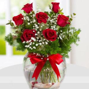 سفارش آنلاین گلدان گل رز قرمز