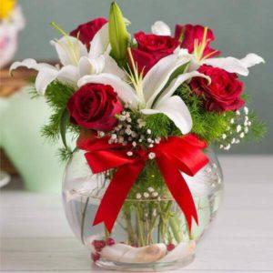 سفارش آنلاین گلدان گل رز و لیلیوم