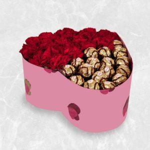 سفارش انلاین شکلات ، پکیج گل و شکلات قلبی