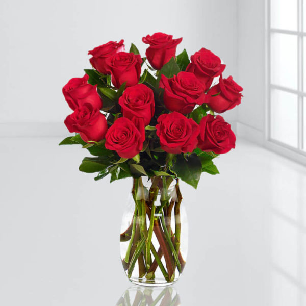 سفارش اینترنتی گلدان گل رز قرمز لوکس