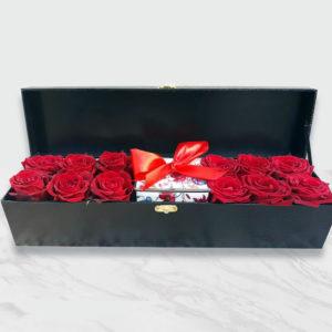 صندوق گل رز و هدیه سوپرلوکس