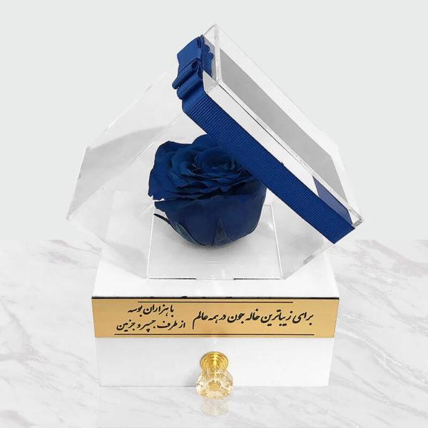 گل رز جاودان آبی باکس سفید
