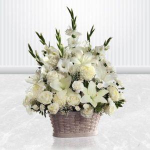 سبد گل سفید فلورانس