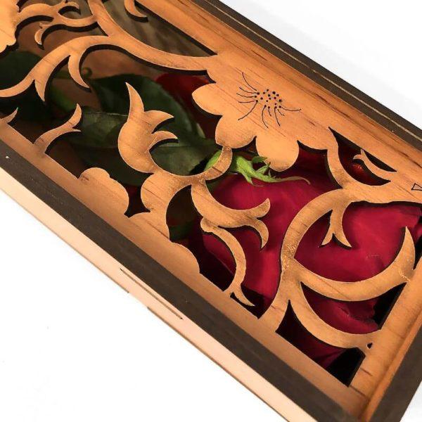 جعبه منبت چوبی گل رز قرمز