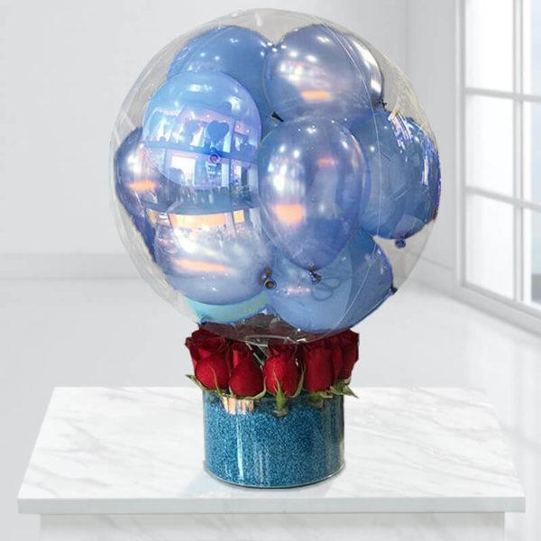 سورپرایز آبی با بالن باکس آبی