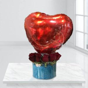 سورپرایز آبی با بالن باکس آبی عاشقانه