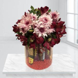 گلدان شکلات و گل شادمانه
