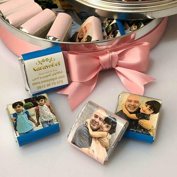 جعبه شکلات فلزی تصویری مدل گرد