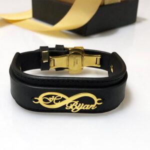 دستبند چرم مشکی و پلاک بی نهایت اسمی